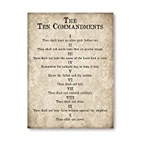 出エジプト記20章印刷十戒キリスト教のポスターヴィンテージ壁アートキャンバス絵画アンティーク聖書の一節の写真農家の装飾の写真-50x70cm x1 フレームレス