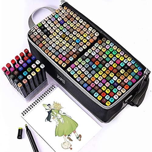 Tongfushop 204 Colores Rotuladores alcohol, Rotuladores para Principiantes, Marcadores no se Ensuciará las manos, Marker para Niños, Artista, Estudiantes, Dibujar, Colorear(con Estante de plastico)
