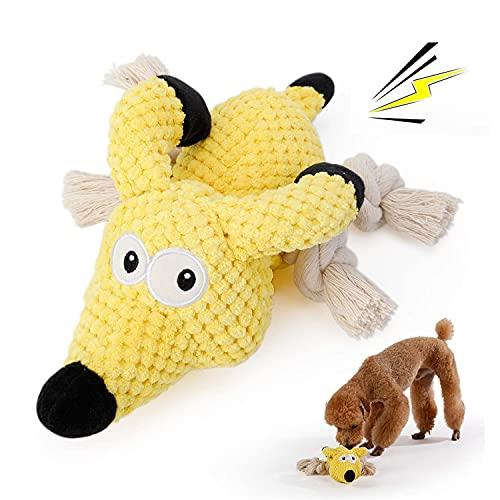 PETTOM Plüschspielzeug für Hunde, Hundespielzeug Quitschend Plüsch, Quietschspielzeug für Große Kleine Hunde, Kausielzeug Hund mit Baumwollstoff