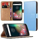 Eximmobile - Book Hülle Handyhülle für Motorola Moto E5 mit Kartenfächer in Blau | Schutzhülle | Handytasche als Flip Hülle Cover | Handy Tasche | Etui Hülle Kunstledertasche