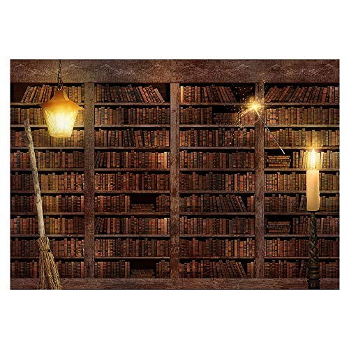 Funnytree 7x5FT Wizard Magic Bookshelf Photography Backdrop for Halloween Bookcase Dress Up Party Decor Ancient Library Background Photo Booth Prop