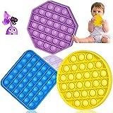 Pop It Fidget Toy 3 Pack with Push Pop Bubble Fidget Sensory Toys Squeeze Stress Relief Sensory Fidget Poppers Toys for Toddlers Kids Autism Toys Figetget Toys Pop it Game