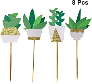 Amosfun 8pcs Cake Toppers Succulent Plant Cupcake Topper Adorable Cake Picks for Hawaii Luau Theme Summer Party Wedding Decoration