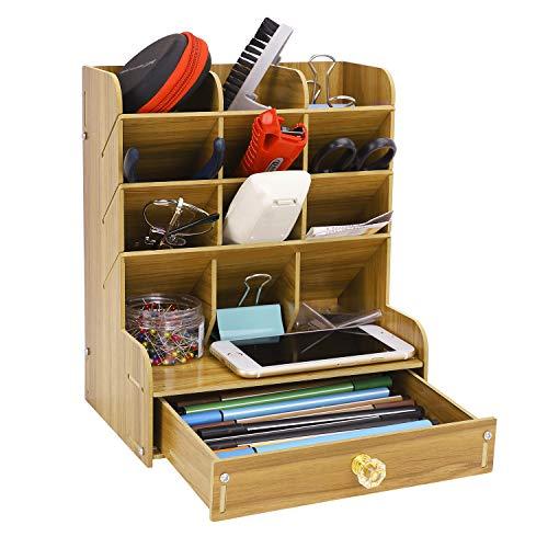 机上用品 収納ボックス 文具収納 ペン立て 大容量 木製 組立式 5段式 仕切り 北欧風 おしゃれ 小物整理 スマホ・めがね・ペンなど収納入れ 文房具 オフィス用品 事務用品 2色