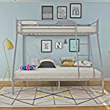 Weiboo Panana 3 Colors Available Twins Metal Bunk Bed Triple Sleeper Single Top Double Bottom Bedstead for Kids Adults