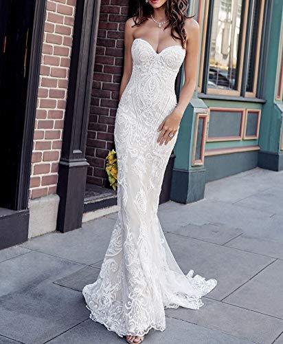 Brautkleid Tüll Spitze Sweetheart Vintage Meerjungfrau Hochzeit Sexy Kleid mit einzigartigen Spitzenapplikationen Brautkleid Elegant Brautkleider (Farbe: Elfenbein, US-Größe: 14)