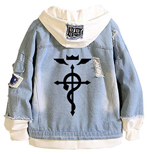 Gumstyle Anime Fullmetal Alchemist Denim Hoodie Jacket Adult Cosplay Button Down Jeans Coat Blue 1 L
