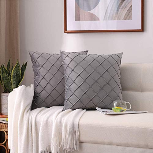 """chenyuanshang Pack of 2 Grey Velvet Checker Plaids Soft Solid Decorative Throw Pillow Covers Cushion Case for Sofa Outdoor Couch Living Room Square 20 inches (Grey, 20""""x20"""")-Yellow-18""""x18"""""""