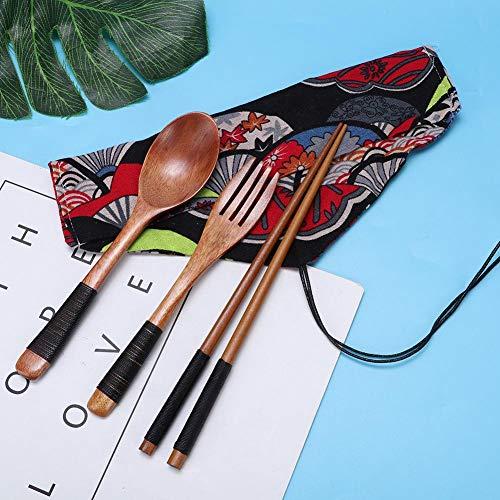 AUNMAS Herbruikbare draagbare camping reizen bestek Set Japanse Houten eetstokjes vork lepel servies Flatware Kit met doek tas