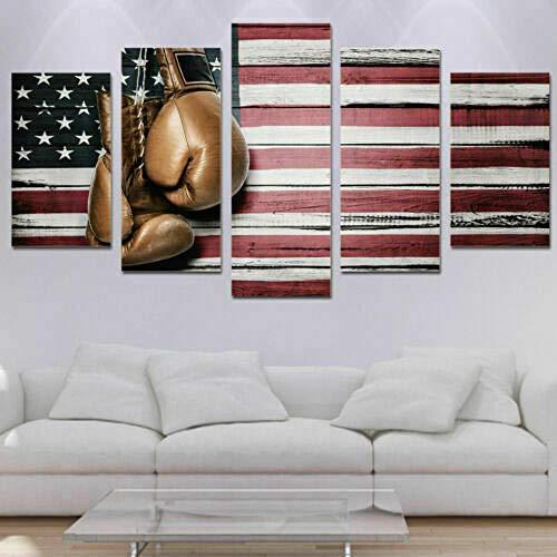 Póster De 5 Piezas Impresiones En Lienzo Mural Modular Hd Boxeo Bandera Americana Rústico 5 Piezas Cuadros En Lienzo Moderno Pintura Decorativa Regalo 150X80Cm-Marco Regalo Creativo