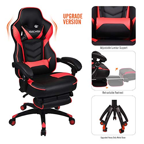 Video Gaming Chair Racing Office - PU Leather High Back Ergonomic 170 Degree Adjustable Swivel Executive Computer Desk Task Large Size with Footrest,Headrest and Lumbar Support (Red) chair gaming red