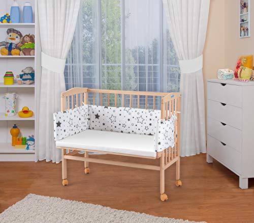 WALDIN Baby,Lettino culla,altezza regolabile,paracolpi e materasso,in 16 varianti, naturale,Superficie d'appoggio EXTRA lung. 90 x larg. 55 cm,bianco/stella mix