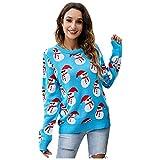 Suéter Suelto de Navidad,Jerseys mujer casual camisetas manga larga mujer baratos Suéter Cuello redondo Suéter de Punto de talla grande jersey otoño primavera ropa mujer blusa top pullover top