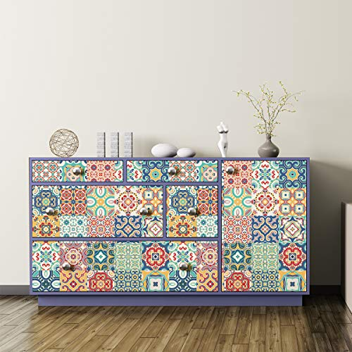 Sticker Autocollant Carreaux de Ciment Stickers adh/ésifs Meuble D/écoration pour Tables Armoires Commodes /Étag/ères 60 x 100 cm