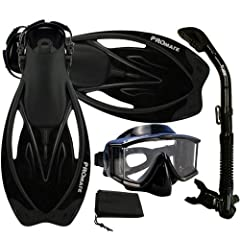 Package includes open heel fins, panoramic dive mask, dry snorkel, and mesh drawstring bag Promate Wave Snorkeling Fins/FN400: Open heel design with adjustable strap and swivel buckle, easily fit either barefoot or diving socks, shoes Promate Avanti ...