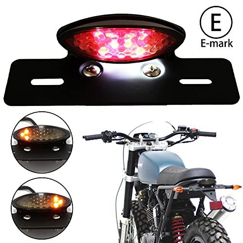 JMTBNO Motorrad 14 LED Rücklicht mit Blinker Bremslicht Hinten Kennzeichnenleuchte Retro E-geprüft 12V Universal für Bobber Chopper Cafe Racer Scambler