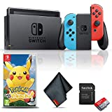 Nintendo Switch (Neon Blue/Red) Gaming Console Bundle with Pokemon: Let's Go Pikachu Game, 64GB Memory Card, and Cleaning Cloth