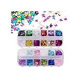 Láser 3D de mariposa con lentejuelas acrílicas, purpurina para uñas de mariposa, purpurina holográfica para decoración de uñas (2 cajas) 24 colores/juego