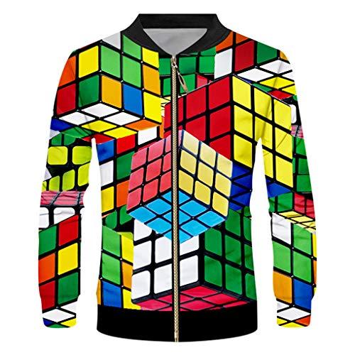 EstéReo 3D De ImpresióN De Los Hombres De Verano Cremallera Chaqueta DiseñO Cubo Hombres Moda Rubik Rubik 6XL