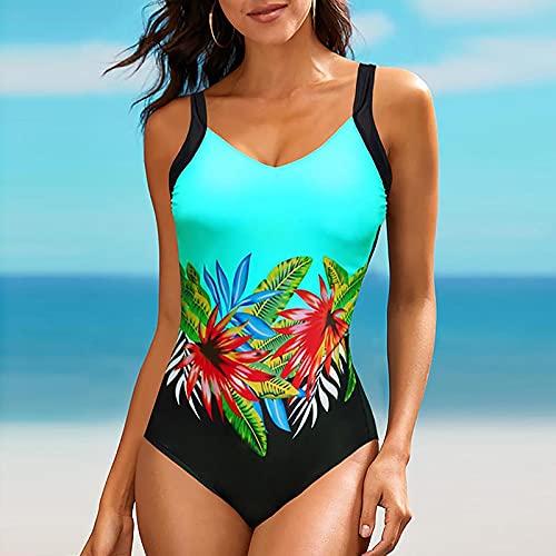 Traje de Baño Mujer de Una Pieza Bañadores de Estampado Cuello V Ropa de Baño con Relleno Retirable para Mujer Monokini sin Espalda Atractivo Swimwear Casual Verano Natación y Surf