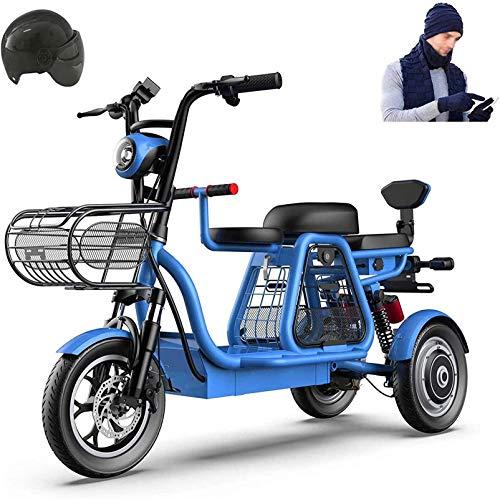 Bicicleta Eléctrica Plegable Bicicleta eléctrica de nieve, bicicleta eléctrica de 500 vatios de 3 ruedas para adultos 48V 8AH Montaña Scooter eléctrico 12 en bicicleta eléctrica Múltiple absorción de