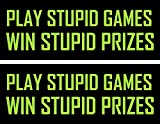 Play stupid games win stupid prizes 2pack, funny, humorous, joke, I Make Decals, 1.5 inch x 4 inch, Hard Hat, phone, tool, lunch, box, Vinyl, Decal, Sticker
