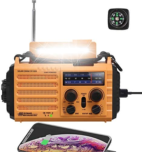 NOAA Emergency Crank Solar Self Powered AM FM Shortwave Weather Radio with Flashlight Reading product image