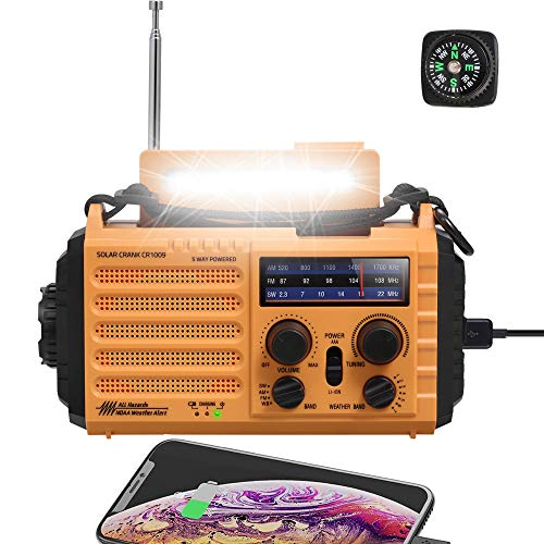 NOAA Emergency Crank Solar Self Powered AM/FM/Shortwave Weather Radio with Flashlight, Reading Lamp, SOS Alarm, 2000mAh Rechargeable Battery for Charger, Portable Survival Kit for Earthquake Flooding