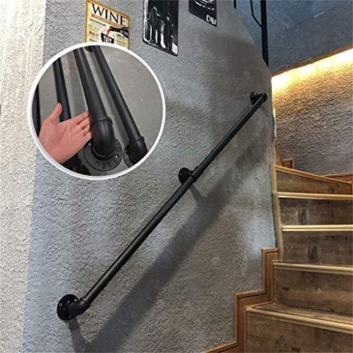 Seguridad Soportes for pasamanos Escaleras Pasamanos for Escalera Exterior o Interior Escaleras de Metal Negro Hierro Forjado montado en la Pared barandilla Barra de Apoyo Baranda, 1 pie-20 pies