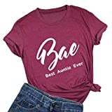 licson Bae Best Auntie Ever T-Shirt Women Funny Best Effing Aunt Ever Shirts Short Sleeves Top Tee (Small, Red-1)