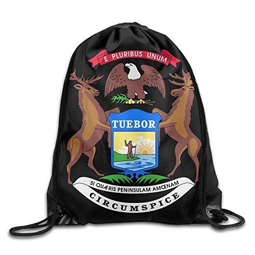 uykjuykj Bolsos De Gimnasio,Mochilas,Cool Drawstring Bag Michigan Flag Tuebor Circumspice Portable Backpack Gymsack color1 Lightweight Unique 17x14 IN