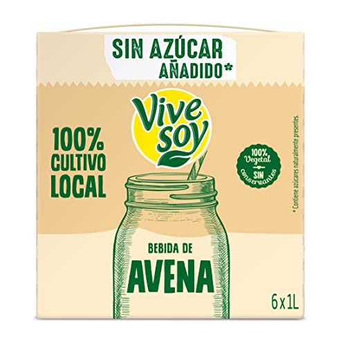 Vivesoy Bebida de Avena sin Azúcar Pack, 6 x 1000ml