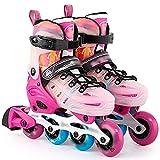 DXIUMZHP Inline Skates Patines En Línea para Niños Pequeños, Principiante Patines Al Aire Libre, 4 Tallas De Zapatos Ajustables, 2 Ruedas Intermitentes (Color : Pink-Set, Size : US 11-13)