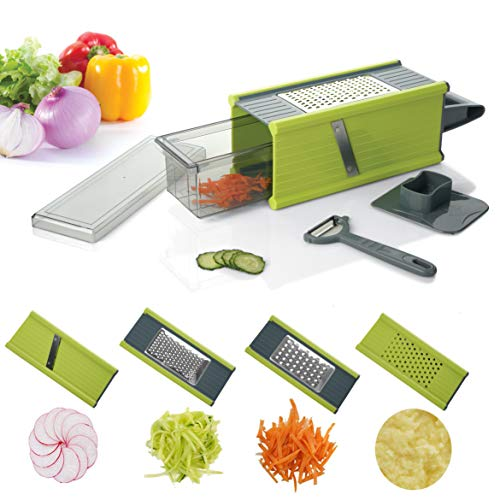 kalokelvin Handheld Box Grater Onion Food Vegetable Chopper Slicer Potato Tomato Grater/Safe Stainless Steel 4 Sided Kitchen Hand Graters/5 in 1 Storage Container
