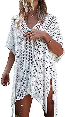 Belllislove Bikini Cover up Vestido de Playa Pareos Traje Vestido de la Camisola Bata Cubretraje Túnica de Punto para Mujer Chica Verano Blanco