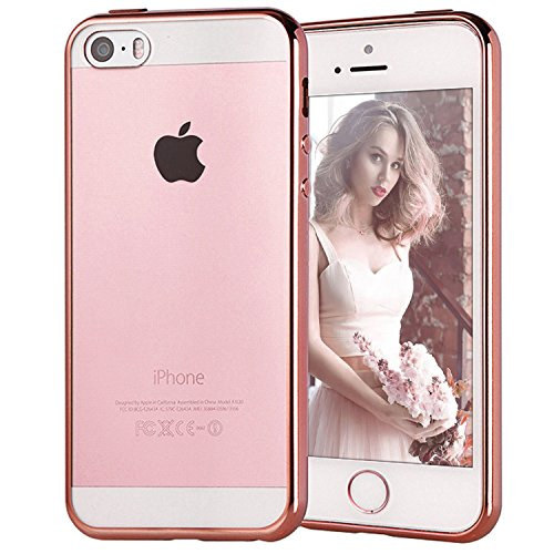 MJ MAMJACK 1951 Cover per iPhone 5/5S/SE, Trasparente Chiaro Gel Silicone [Ultra Slim] + [AntiGraffio] + [Antiurto] Bumper in TPU Morbida Cover Chiaro Custodia per Apple iPhone 5/5S/SE Oro Rosa