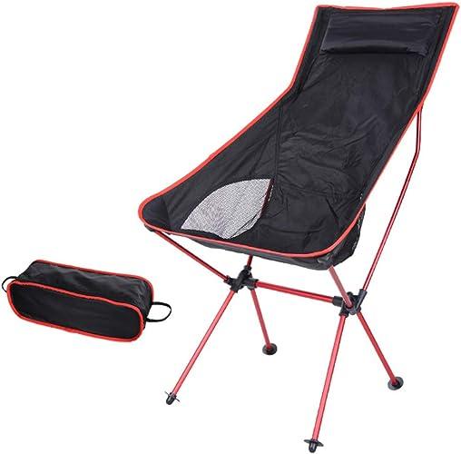 QZH Chaise de Camping Portable réglable en Hauteur + Sac à Dos Ultra-léger et Compact Pliable + Sac de Transport + Oreiller - capacité de 240 LB,rouge2