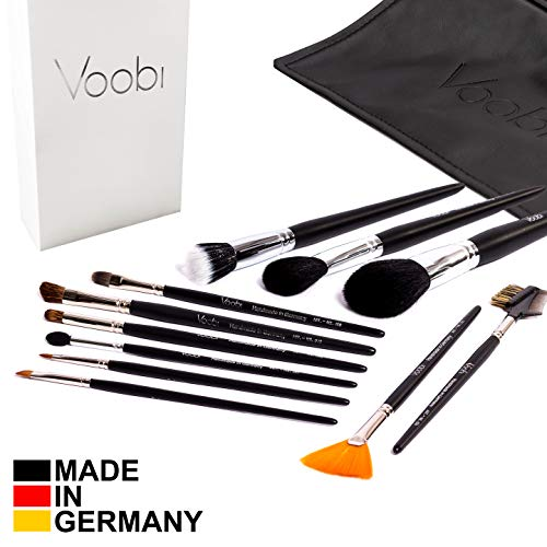 VOOBI Collection №1 Make-Up Pinsel - Schminkpinsel Set 11-tlg mit Tasche - Deutsche Handarbeit...