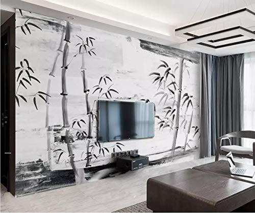 Hyf Wallpaper Decoración Casera Del Papel Pintado Del Fondo Del Bambú Tv De La Tinta Blanco Y Negro,…