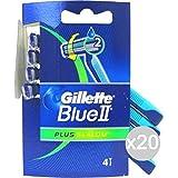Set de 20 GILLETTE Blue 2 Slalom Plus X 4 Radi Getta Afeitadora para el rostro y el cuerpo
