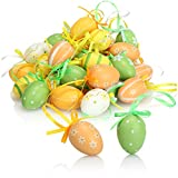 com-four® 36x Ostereier zum Aufhängen - Handbemalte Osterdeko in tollen Farben - Deko Ostereier mit schönen Motiven (grün. orange. gelb. weiß)