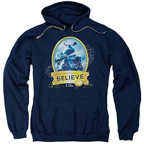 2Bhip Sudadera con Capucha de The Polar Express Animated Holiday Movie True Believer para Adultos - Azul Marino - X-Large