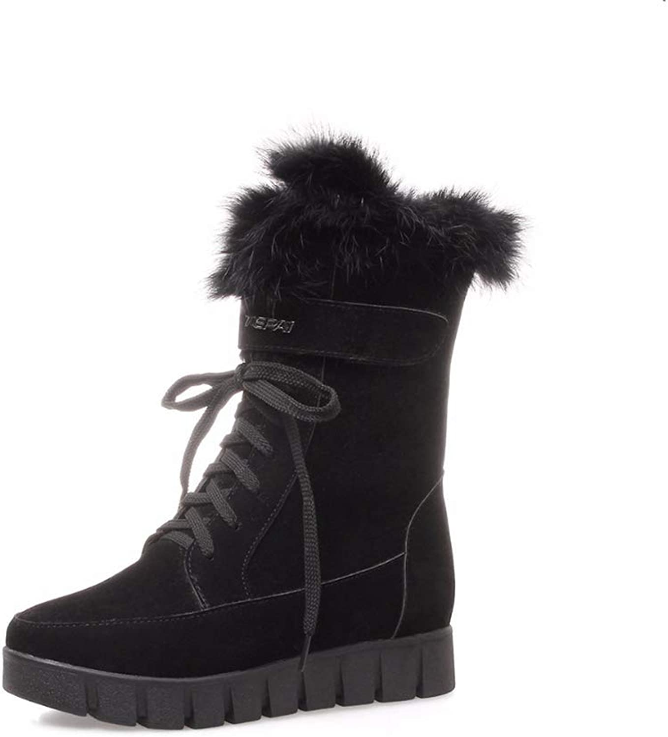 Women's Wedges Snow Boots Lace Up Platform Warm Casual shoes Woman Long Plush Fashion Winter Boot