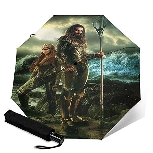 Jason Momoa Automatischer dreifach faltbarer Regenschirm, wasserdicht und Sonnenschutz, robust und langlebig, Anti-Ultraviolett Faltbarer Reise-Regenschirm, kann automatisch öffnen und...