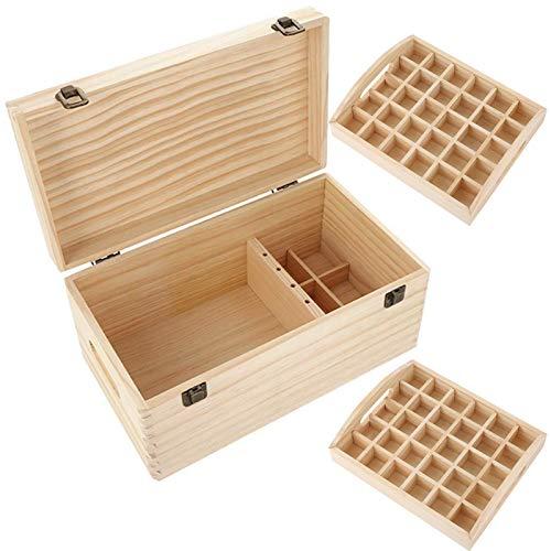NIBESSER Ätherisches Öl Aufbewahrungsbox Doppelschicht große ätherische Öle Lagerung Inhaber Box 66 Löcher Holz Box Veranstalter Aufbewahrung Koffer