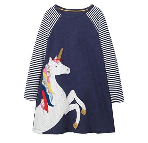 Bebé Niñas Vestidos,Vestido Casual de Manga Larga con Estampado Animal de Dinosaurio para 1-7 años (6-7 Años, Azul)