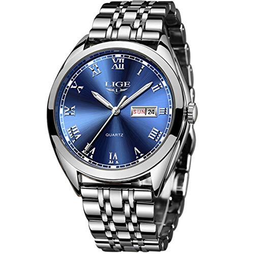 Reloj de Hombre La Moda Impermeable Acero Inoxidable Relojes de Cuarzo Analógicos Marca de Lujo LIGE Negocios Vestido Fecha Calendario Reloj Los Hombres Deportes y Ocio Azul Reloj