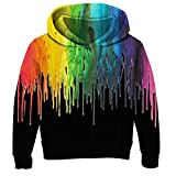 RAISEVERN Kids Hoodie Casual Fleece Sweatshirts 3D Colorful Melting Paint Print Child Hooded Shirts Black Comfy Cute Funny Rainbow Pullover Hoody Outfits for Little Boys Girls(6-8 Years)