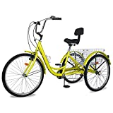 Adult Tricycles, 7 Speed Adult Trikes 20/24/26 inch 3 Wheel Bikes for Adults with Large Basket for Recreation, Shopping, Picnics Exercise Men's Women's Cruiser Bike (Yellow, 24' Wheels/ 7-Speed)