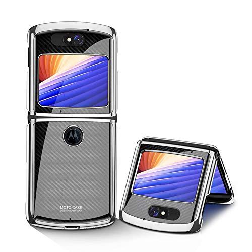 MingMing Hülle für Motorola Razr 5G Hardcase Stoßfest Schutzhülle PC + 9H Gehärtete Glasabdeckung, Superdünne handyhülle für Motorola Razr 5G, Kohlefaser schwarz